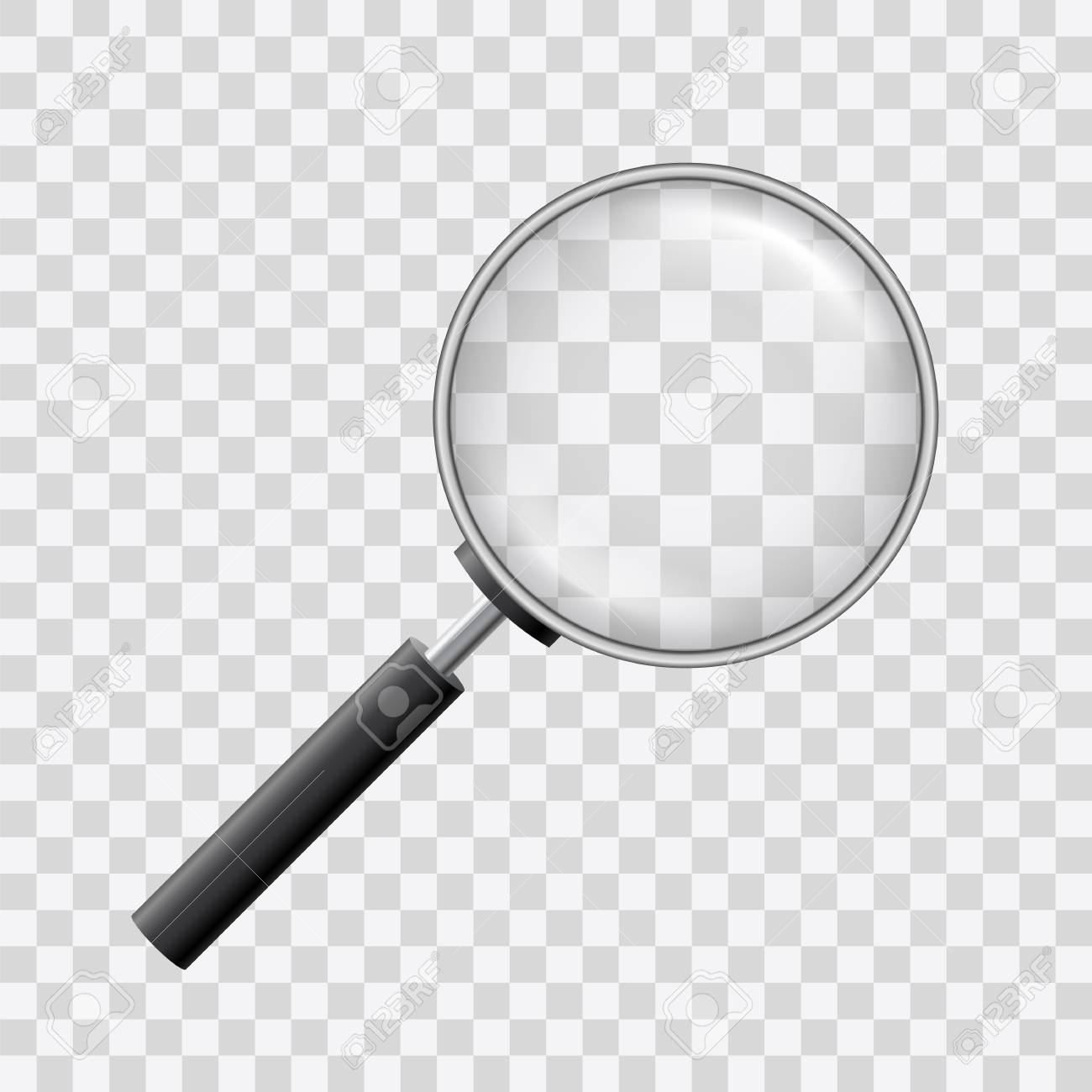 Beautiful vector of a loupe with magnyfying glass on transparent background. - 125229407