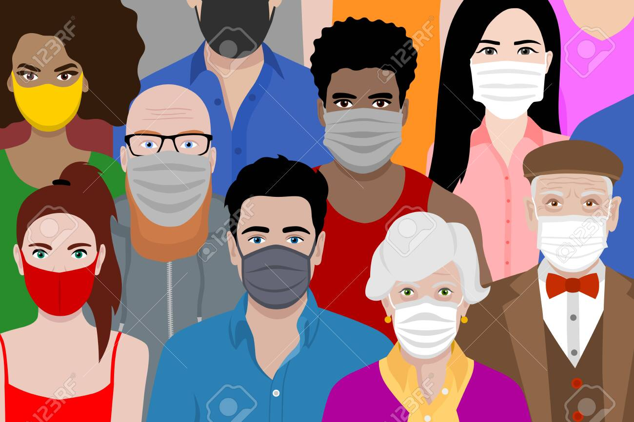 Beautiful background with multicultural cartoon people wearing face masks. Covid 19 safety measures. Protection against coronavirus. - 150211185