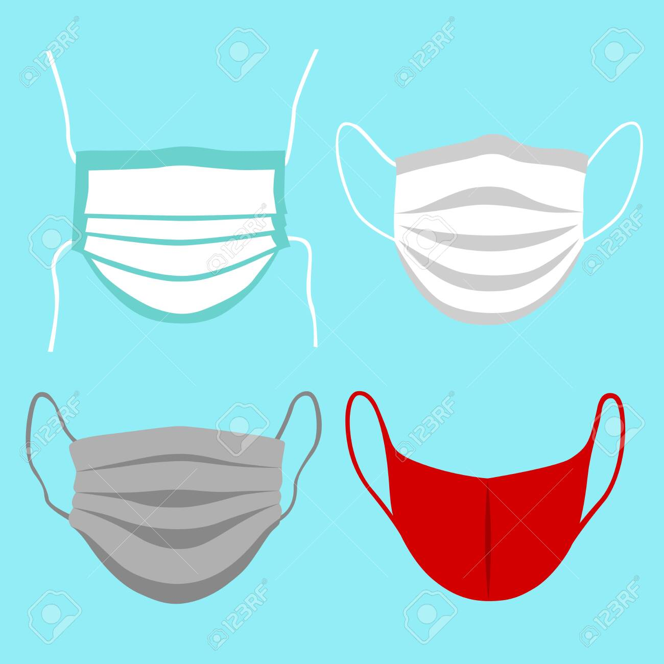Front view vector set of protective face mask. Coronavirus safety measures. - 150211184