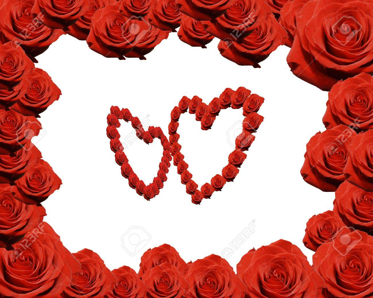 Frame Made From Red Roses With Two Rose Hearts Stock Photo, Picture ...