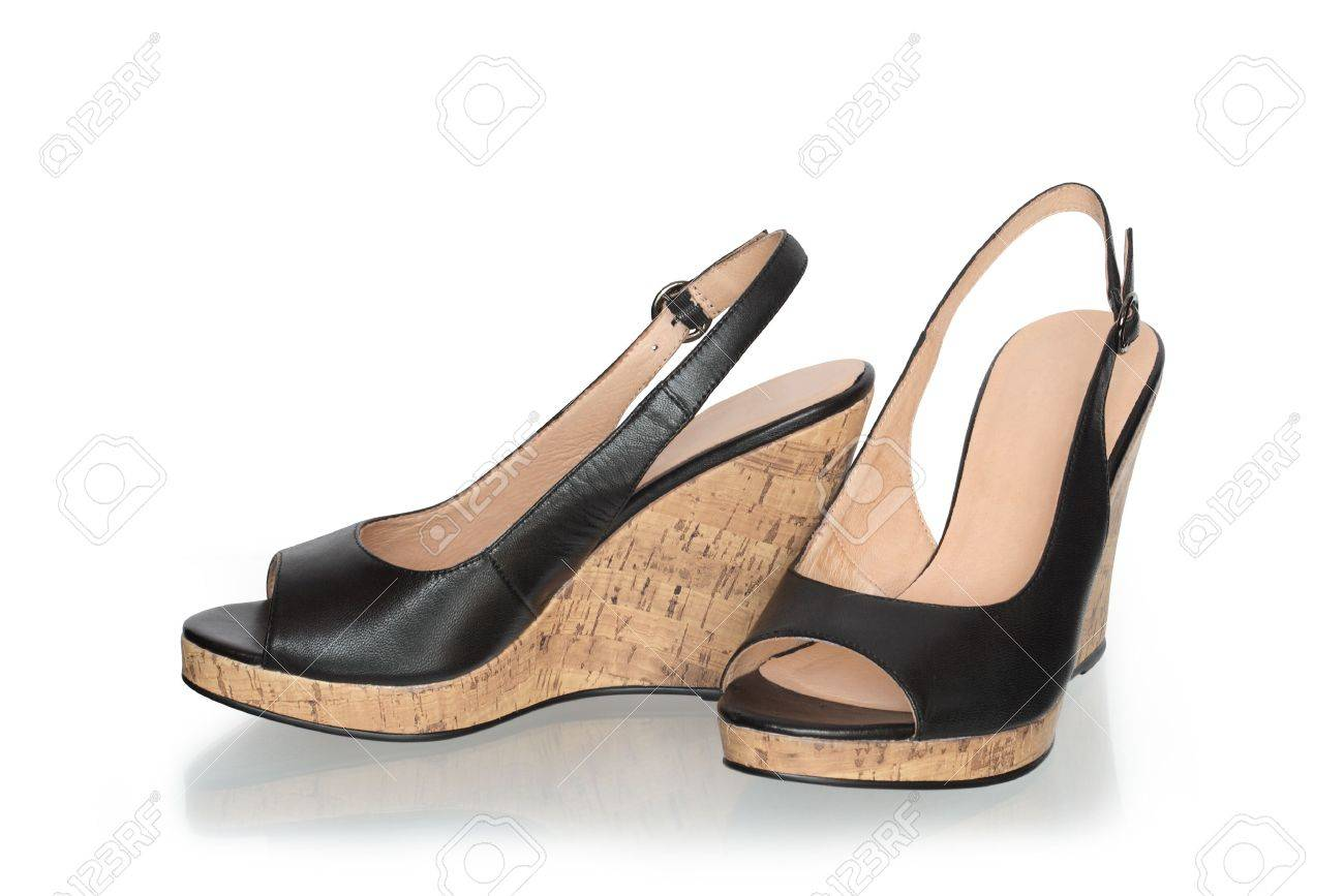 Pair Of Nice Summer Women Shoes On Cork Soles Stock Photo, Picture ...