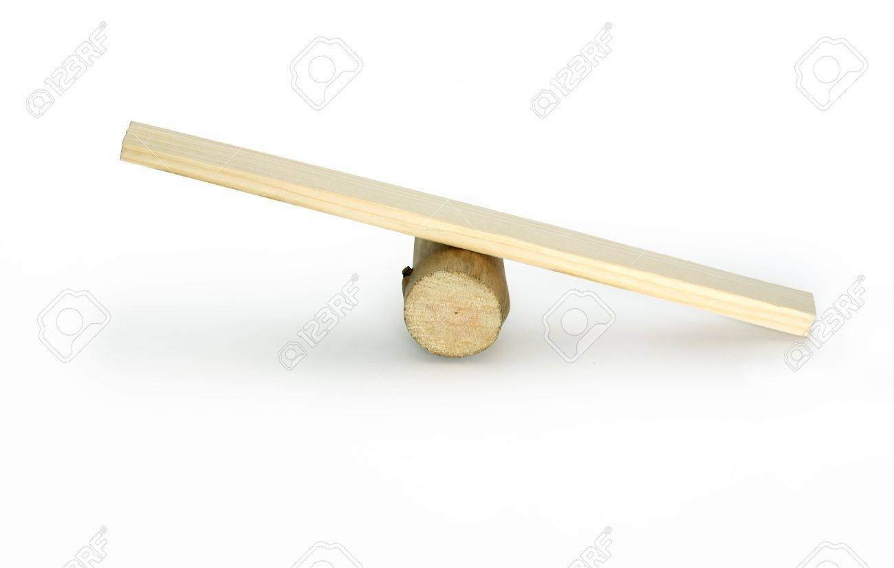 Empty Wooden Seesaw Isolated On White Background