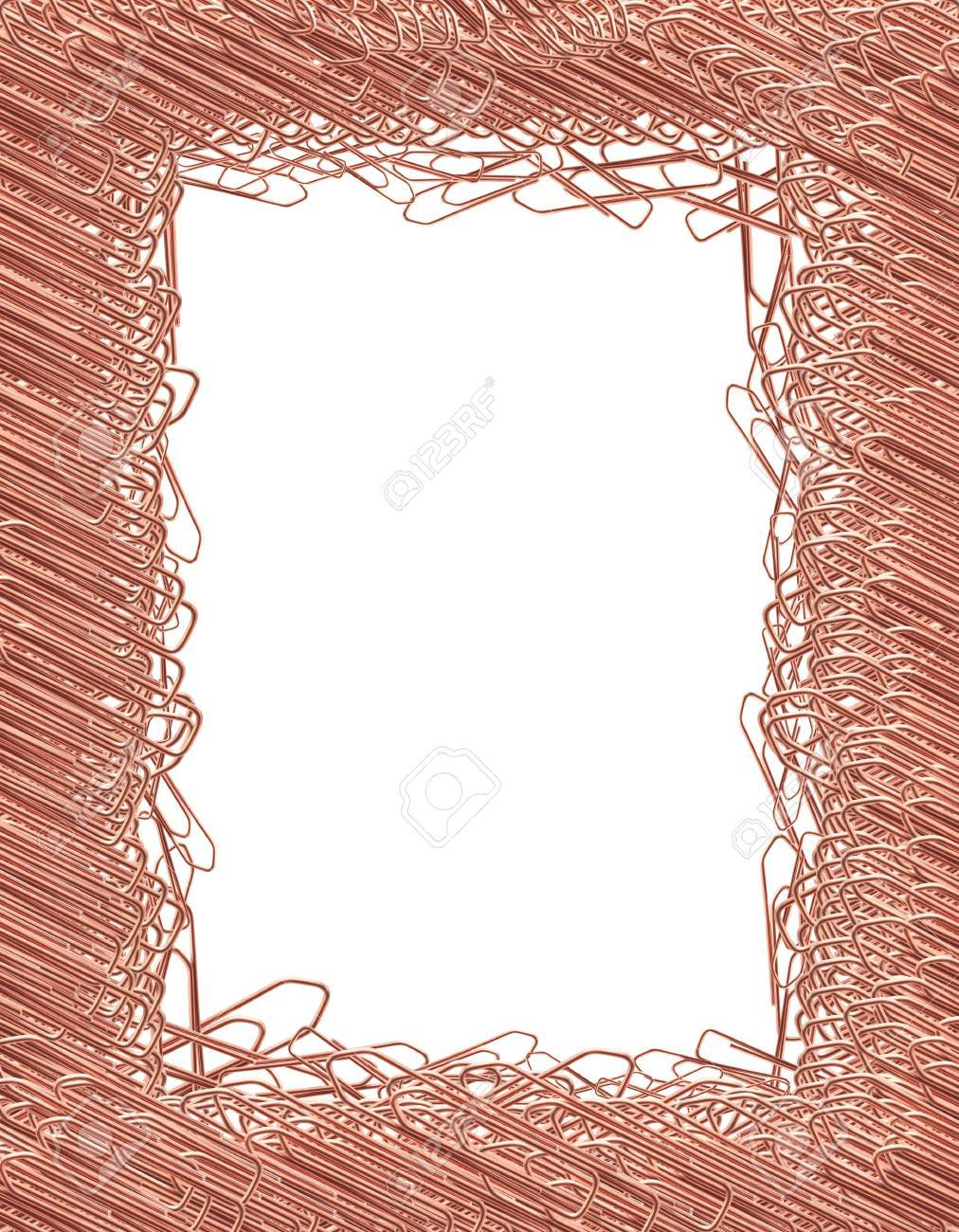 picture frame made from lot of copper paper clips stock photo 18737385
