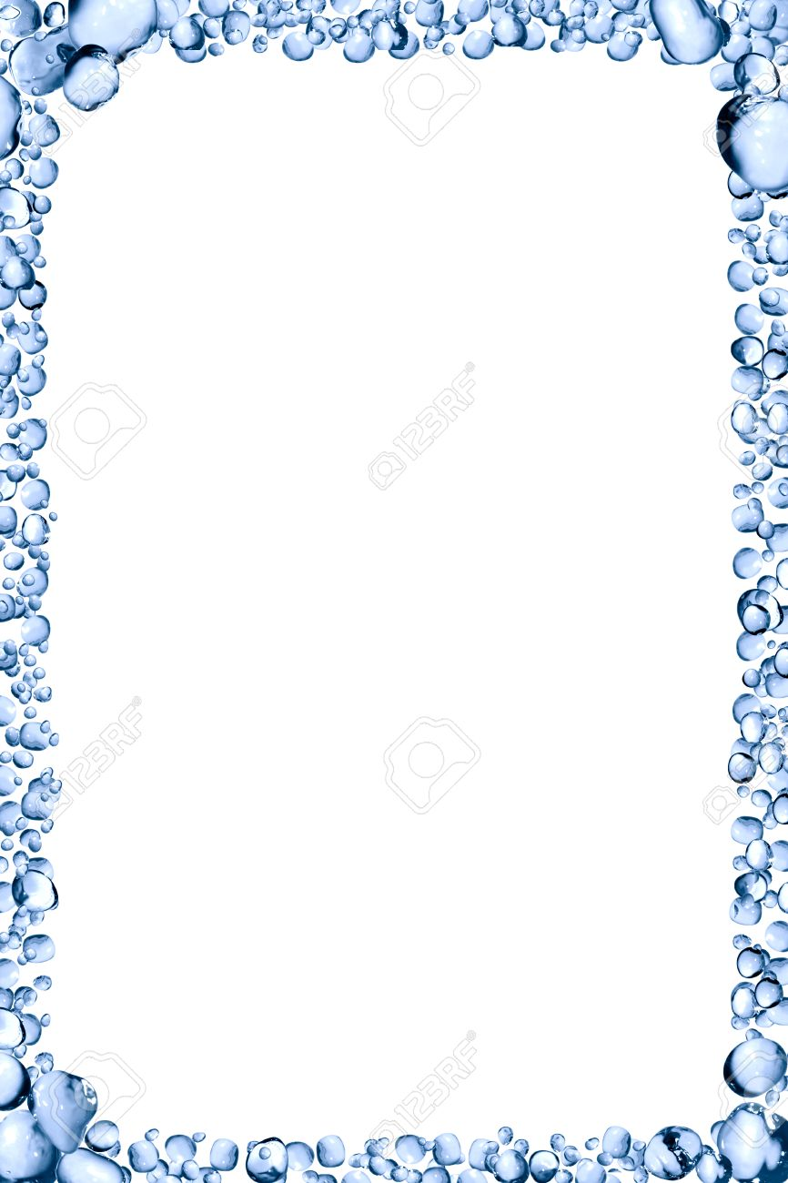 Picture Frame Made From Lot Of Blue Water Drops On White Background ...