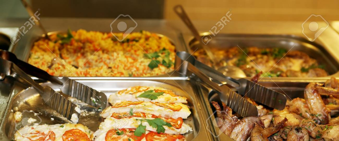 Commercial Kitchen Set Of Various Food For Sale On Counter In