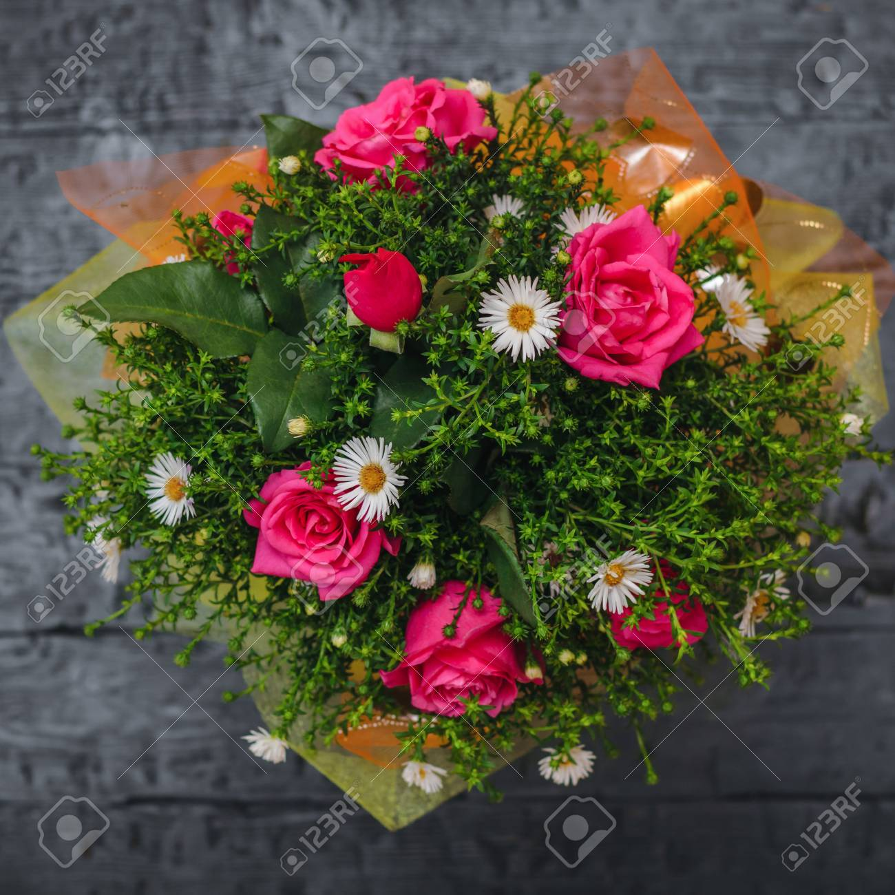 Beautiful Bouquet Of Red And White Flowers With Green Plants Stock Photo Picture And Royalty Free Image Image 108267891