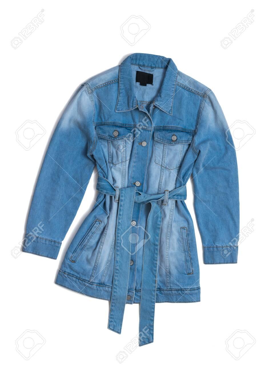 Fashionable denim long jacket with a belt isolated on a white background. Fashionable women's denim clothing. - 146775353