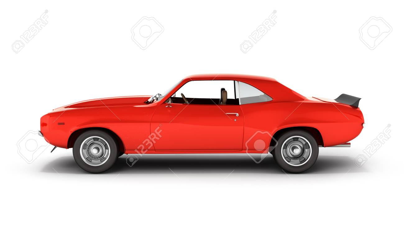 Muscle Car Side View Isolated On White Background 3d Stock Photo
