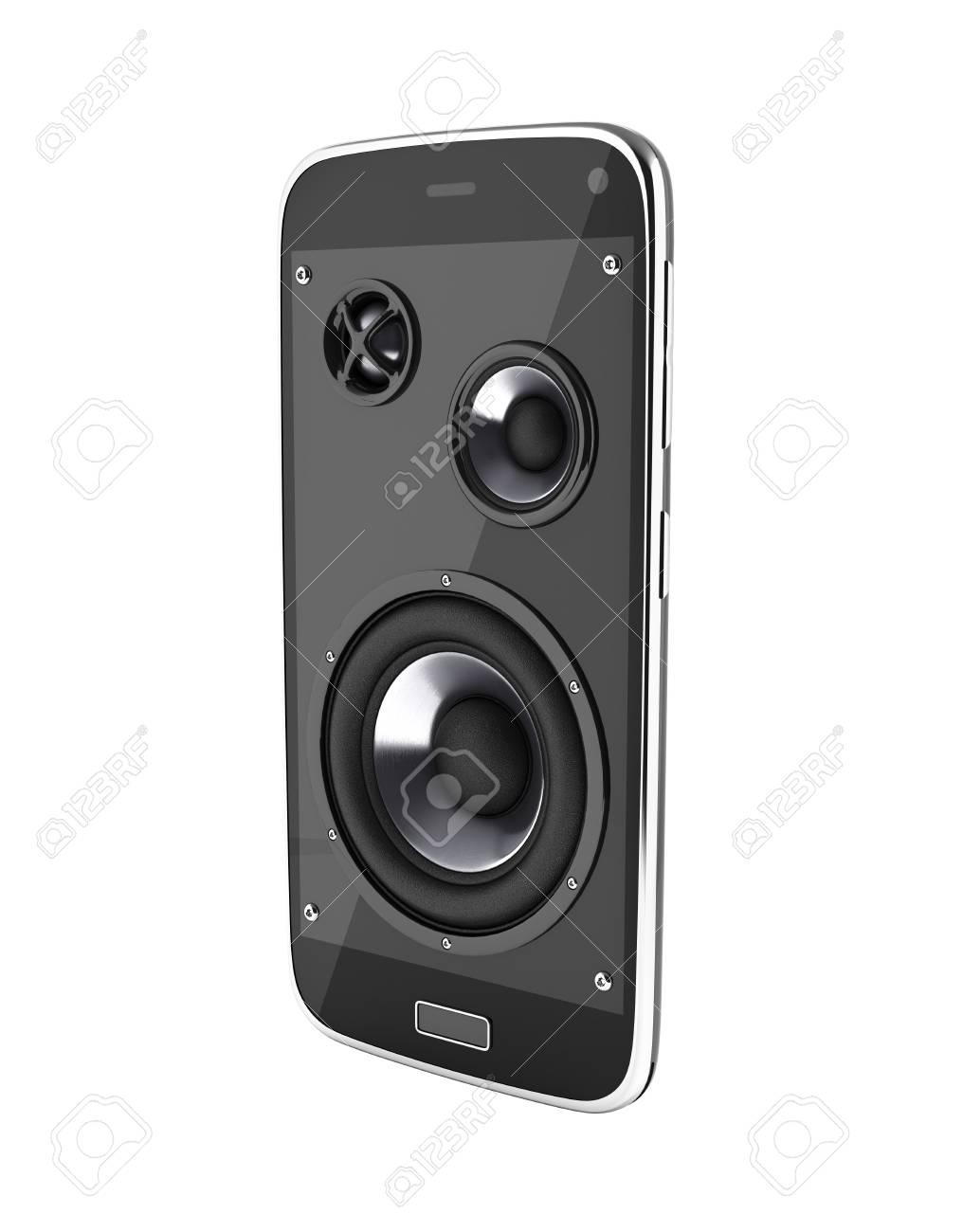 Turbo Musik-Smartphone Handy-Musik-App Handy Und Lautsprecher Auf Weißem TI58