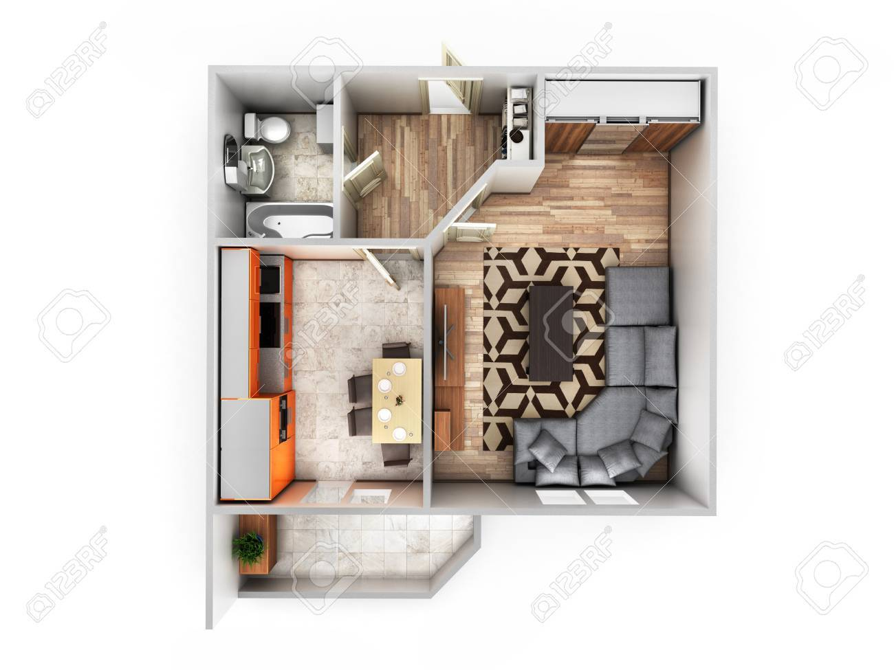 Interior Apartment Roofless Top View Apartment Layout 3d Render Stock Photo    85508765