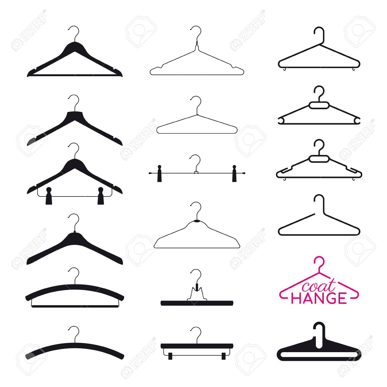Vector set silhouette coat hanger. Isolated on white background - 145838468