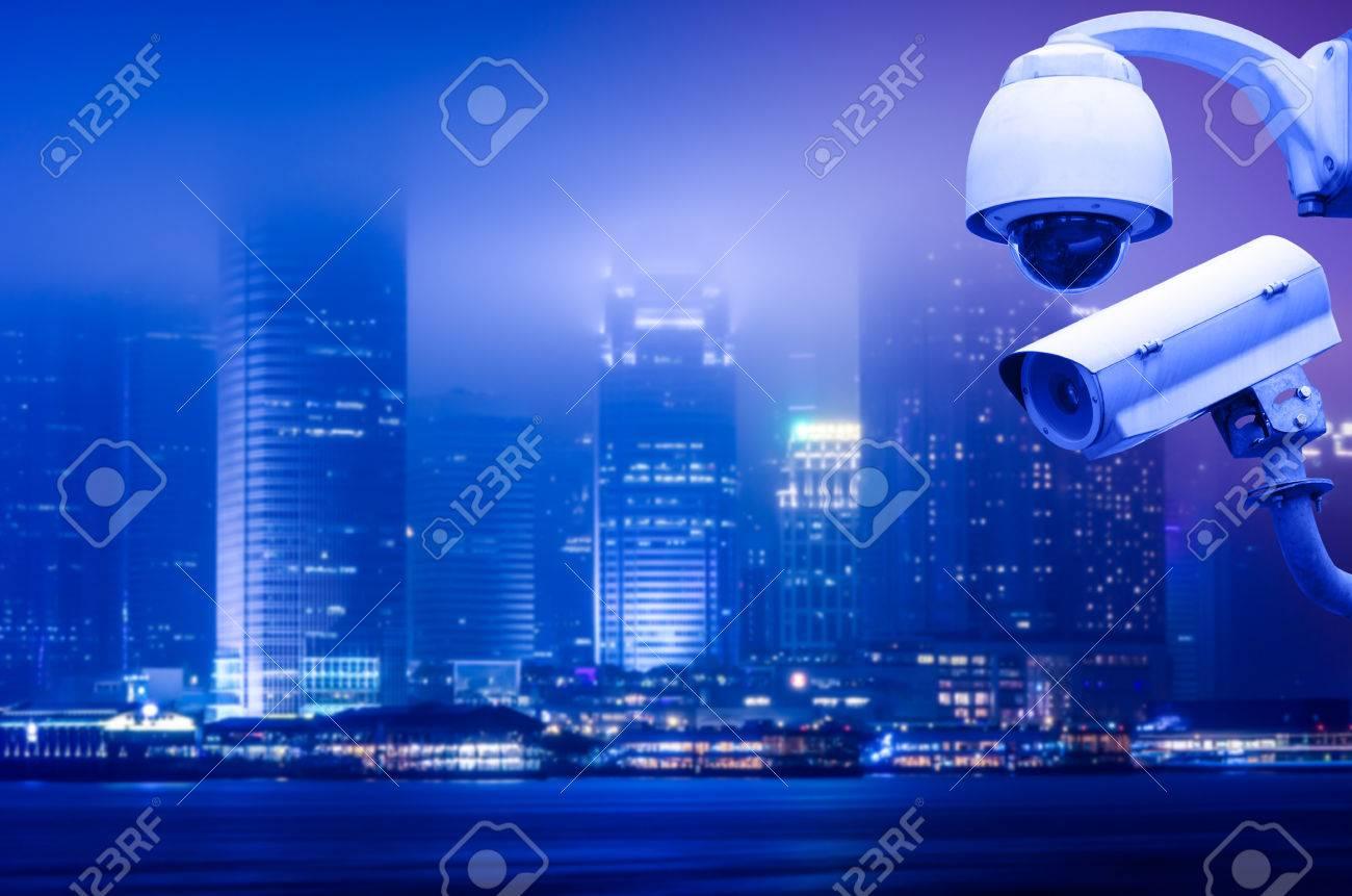 Surveillance Security Camera or CCTV over city - 44475921