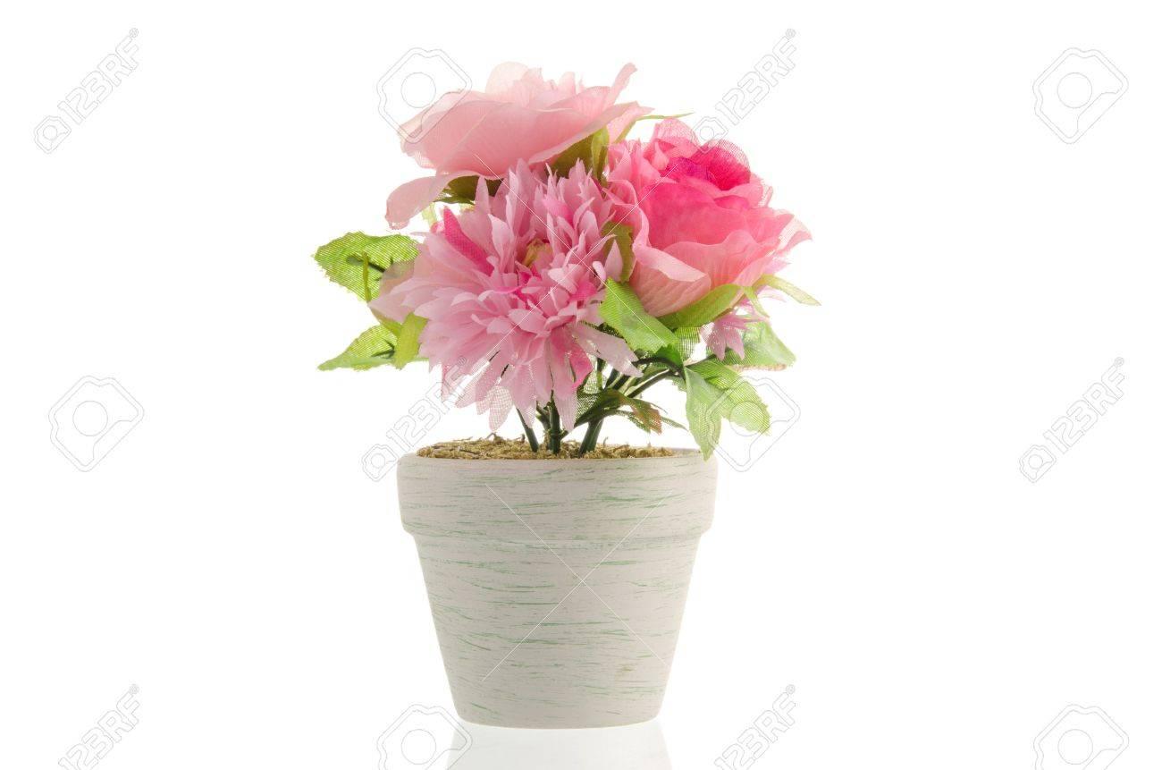 Pot De Fleur Artificielle Isole Sur Fond Blanc Banque D Images Et