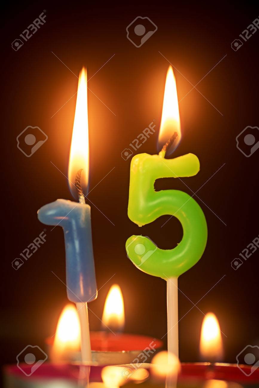 Birthday Number Anniversary Candle 15 Year Old Stock Photo