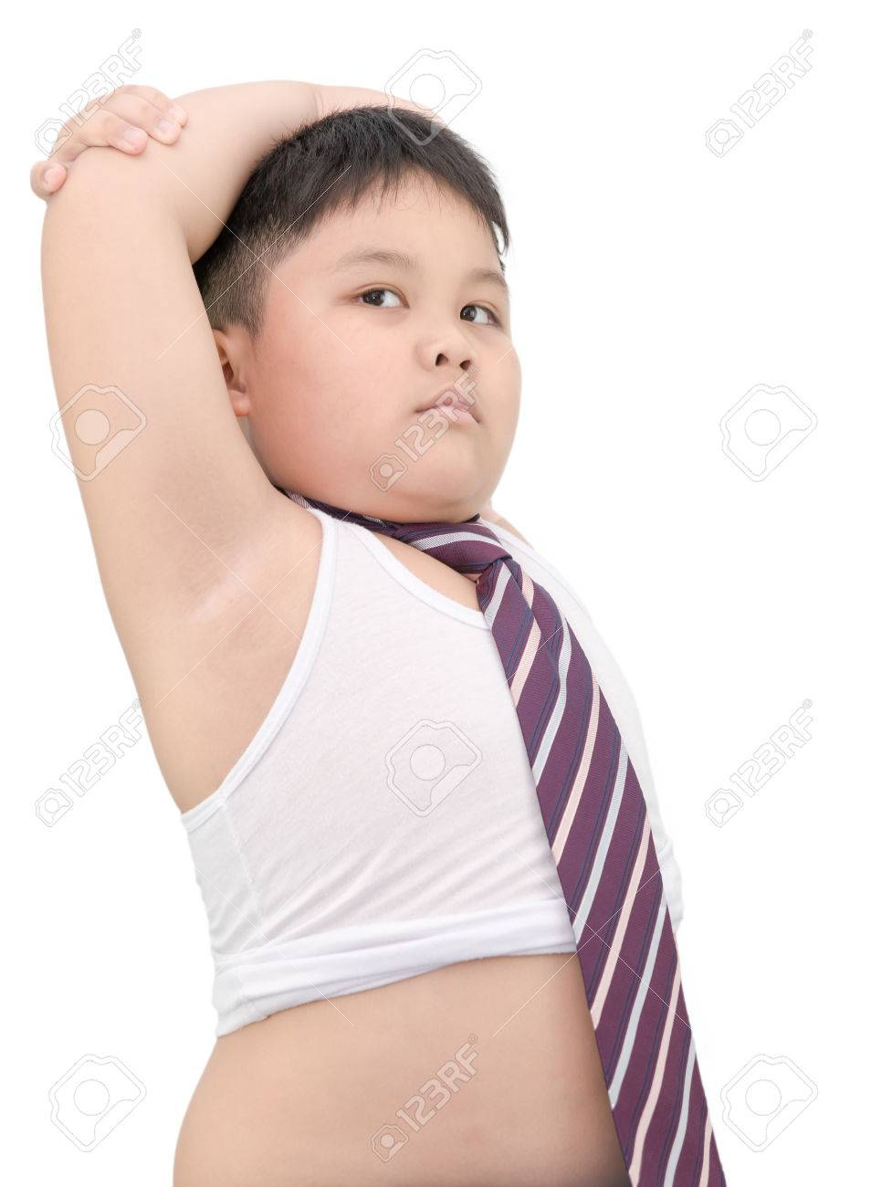 Cute fat boy wear vest and tie isolated on white stock photo 41958687