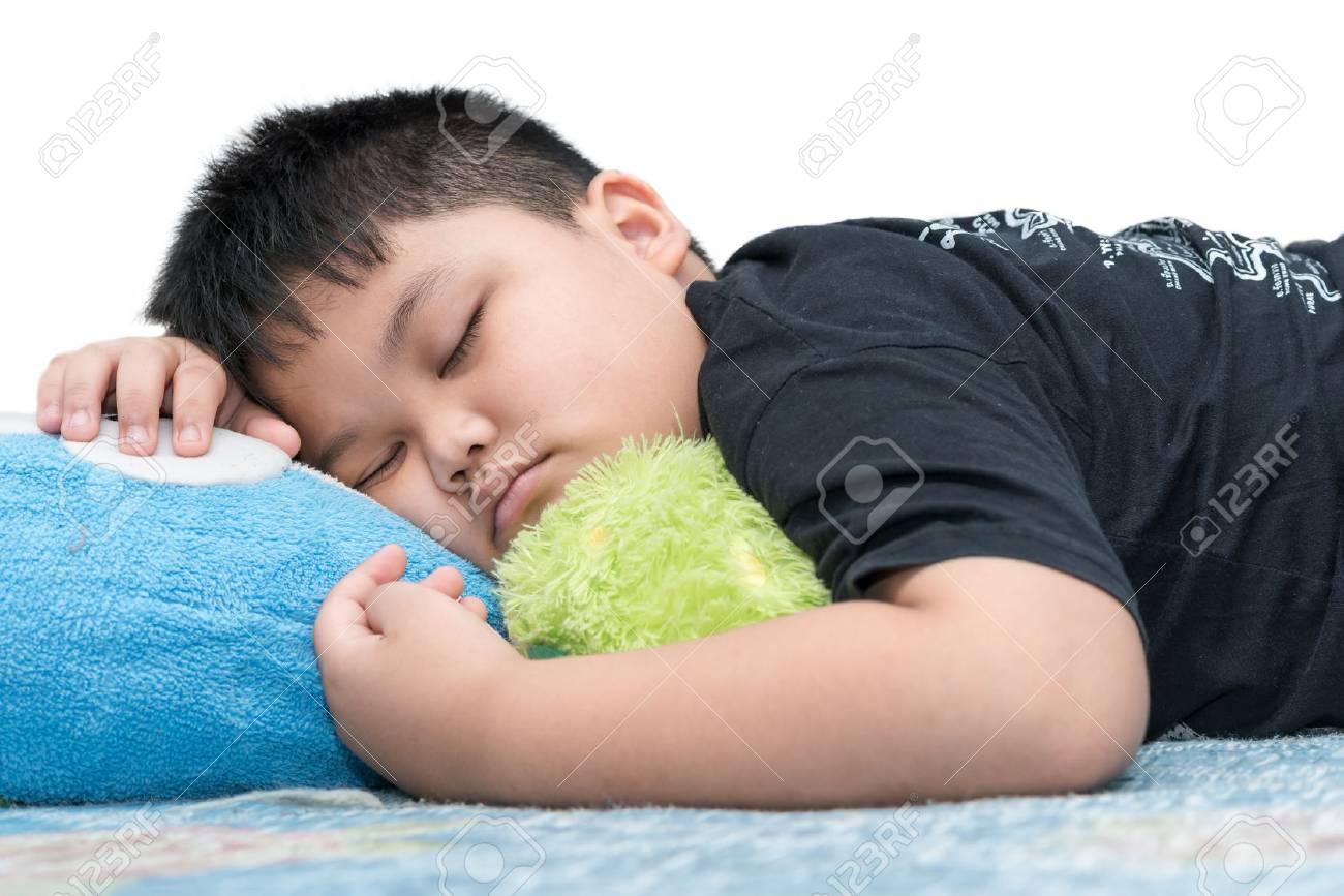 Fat boy sleep isolated on white background stock photo 67649542