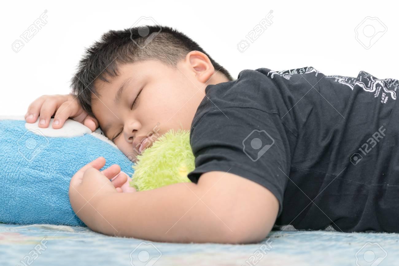 Fat boy sleep isolated on white background stock photo 67649762