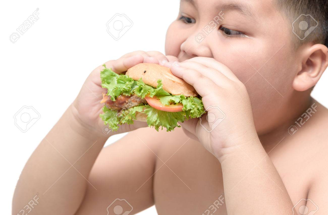 pork hamburger on obese fat boy hand background isolated on white,