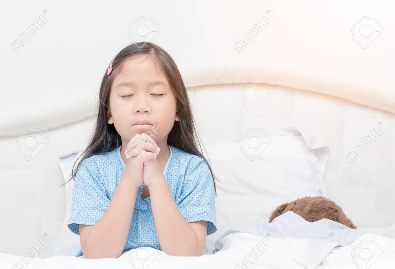 Little Girl Praying On Bed Little Asian Girl Hand Praying Hands