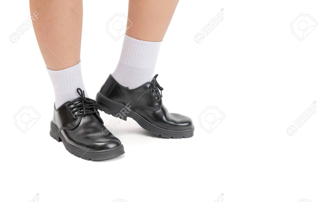 black leather shoes school
