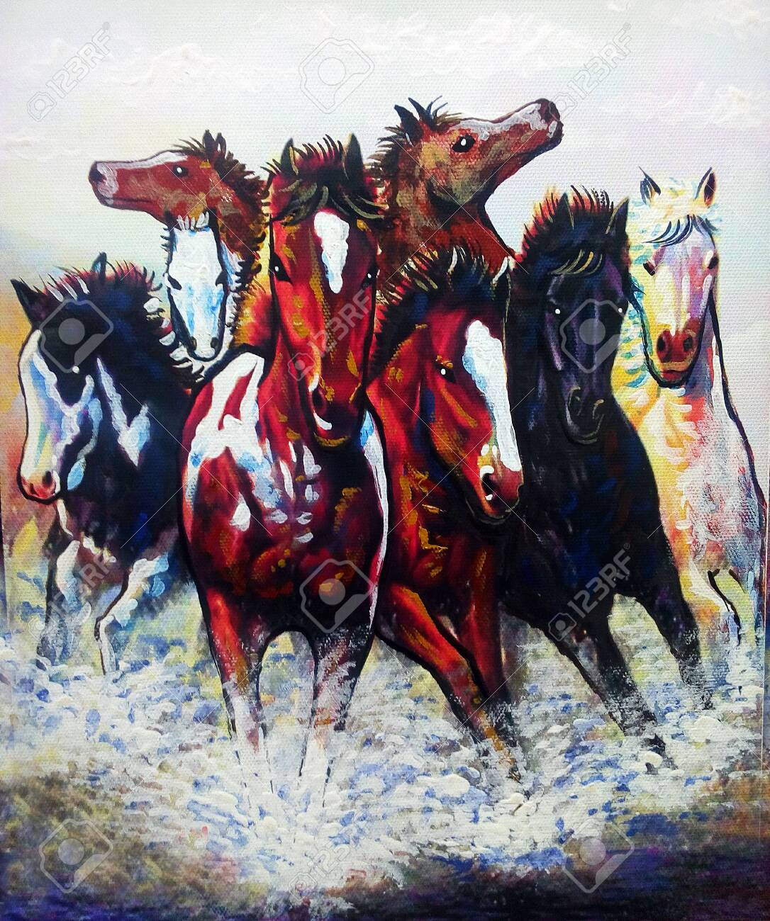 Art Painting Fine Art Oil Color Running Horse Lucky From Thailand Stock Photo Picture And Royalty Free Image Image 152088804