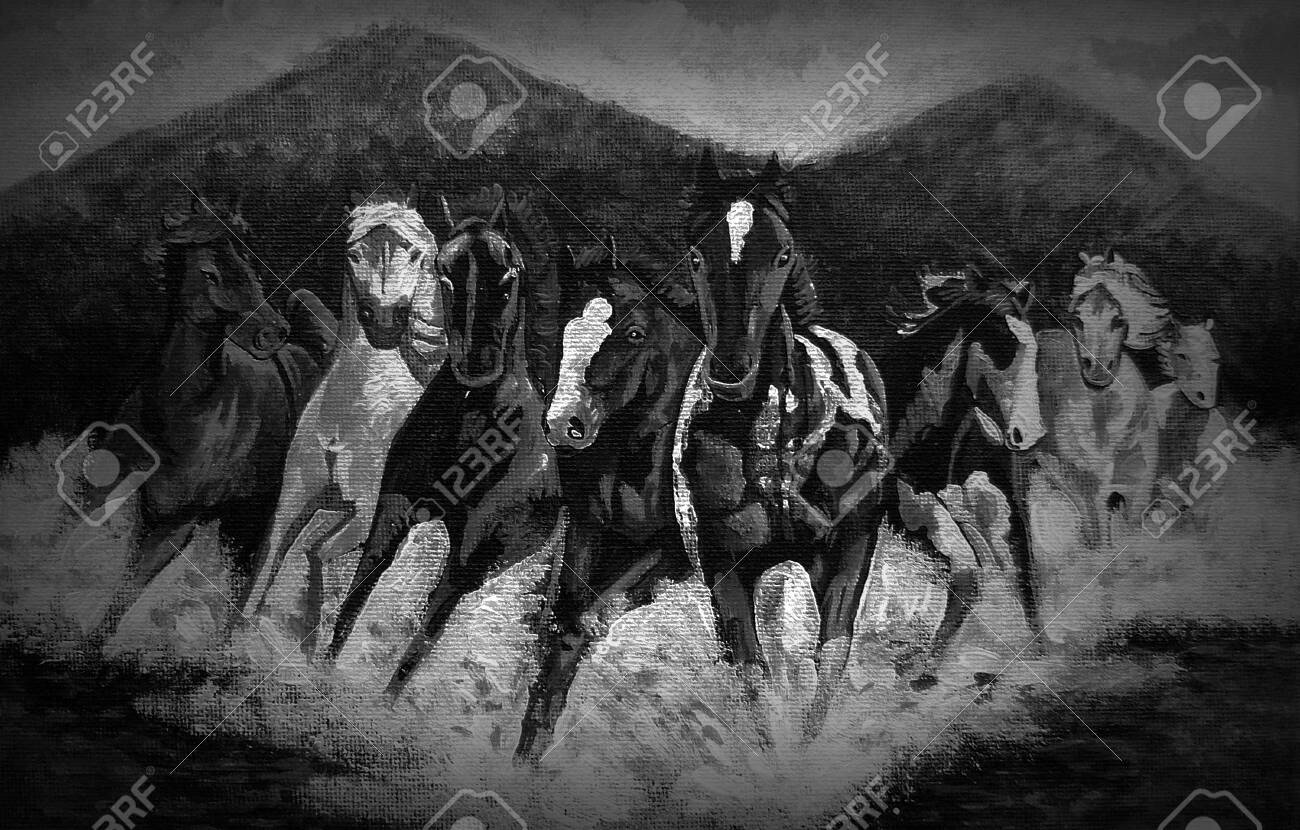 Art Painting Acrylic Color Running Horse Lucky Black And White Stock Photo Picture And Royalty Free Image Image 152266578