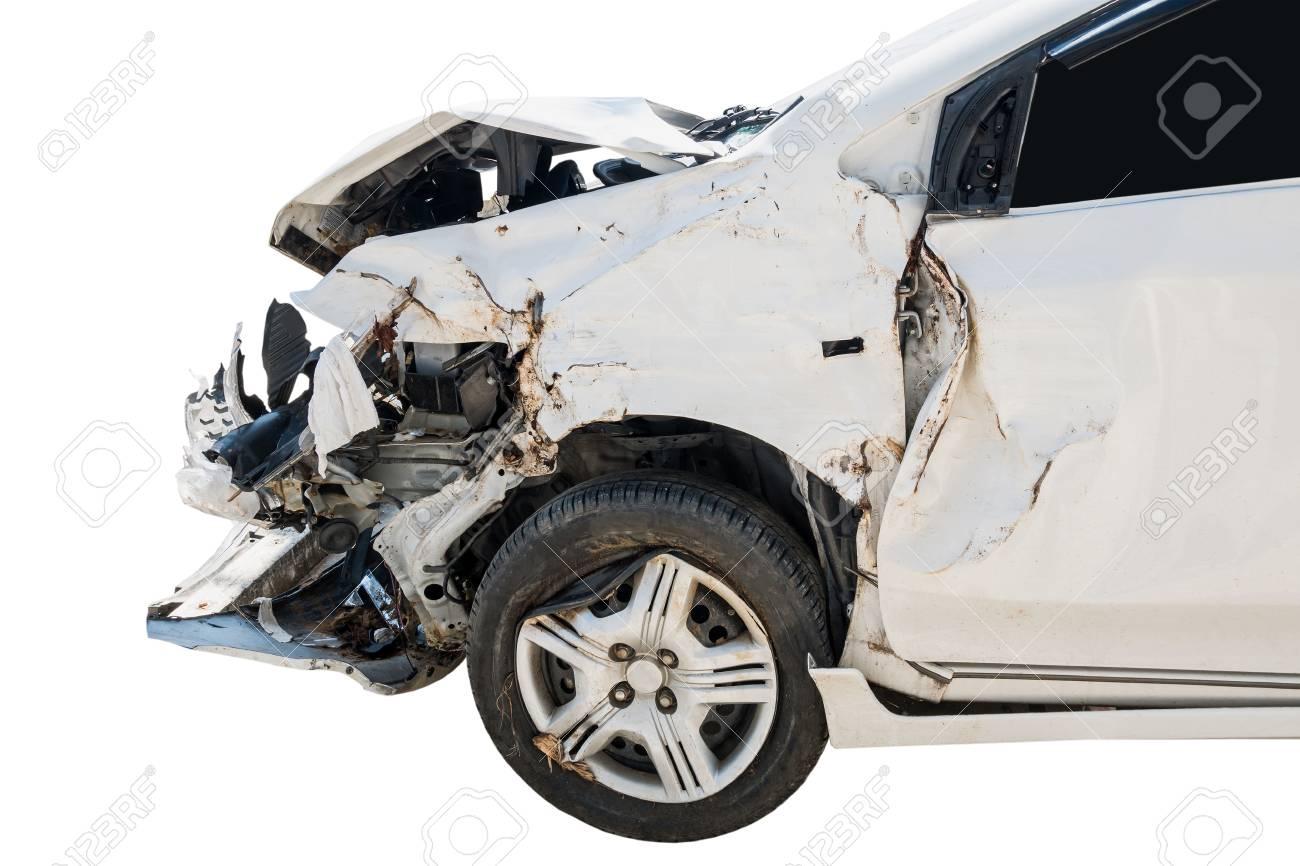 Car crash accident damaged isolated on white background