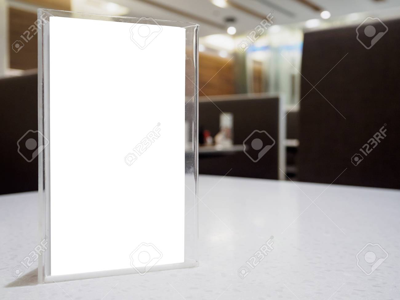 Mock Up Menu Frame On Table In The Cafe Restaurant, Acrylic Stand ...