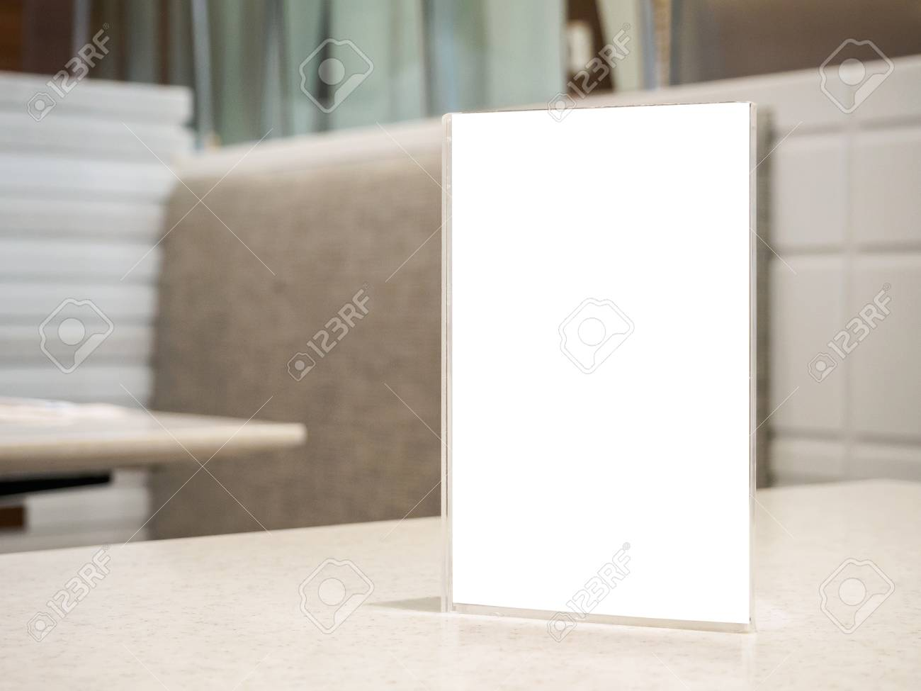 Restaurant Table With Mock Up White Sheets Paper Blank Label.. Stock ...