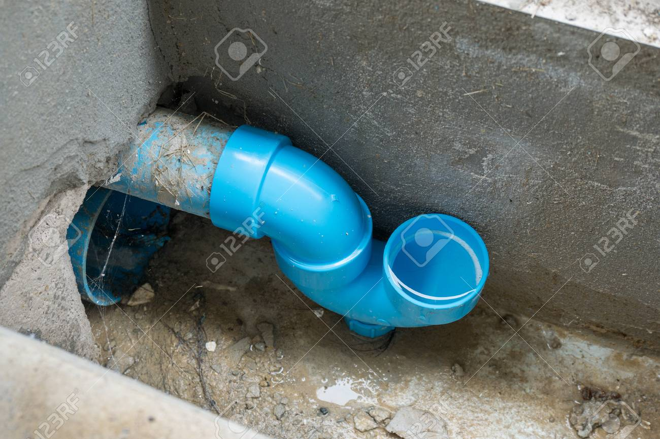 Anti Odor U Trap Sewer Pipe Of The House For Protect Bad Smell Stock Photo