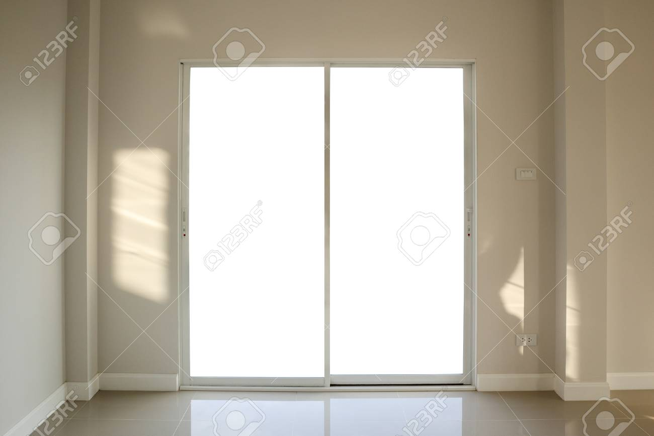 Steel White Window Frame Home Interior On Paint Wall Stock Photo ...