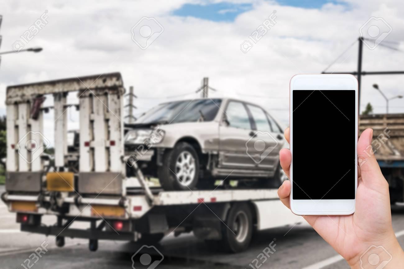 Emergency Roadside Service >> Hand Using Mobile Smartphone For Emergency Roadside Service With