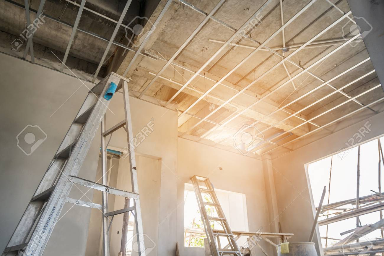 Install Metal Frame For Plaster Board Ceiling At House Under.. Stock ...