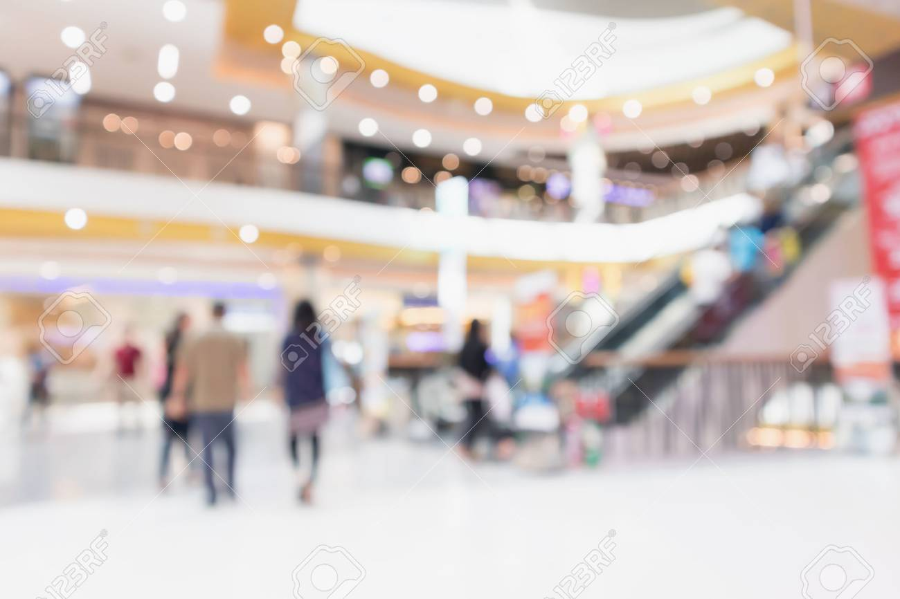Abstract blur modern shopping mall interior defocused background - 96877079