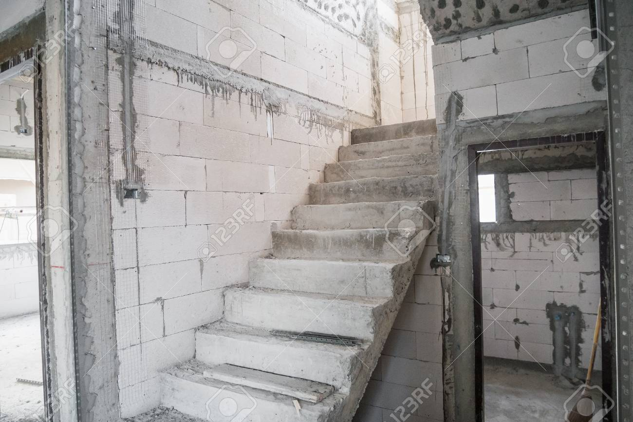Cement Concrete Stair In The Under Construction House At Building Site  Stock Photo   97065212
