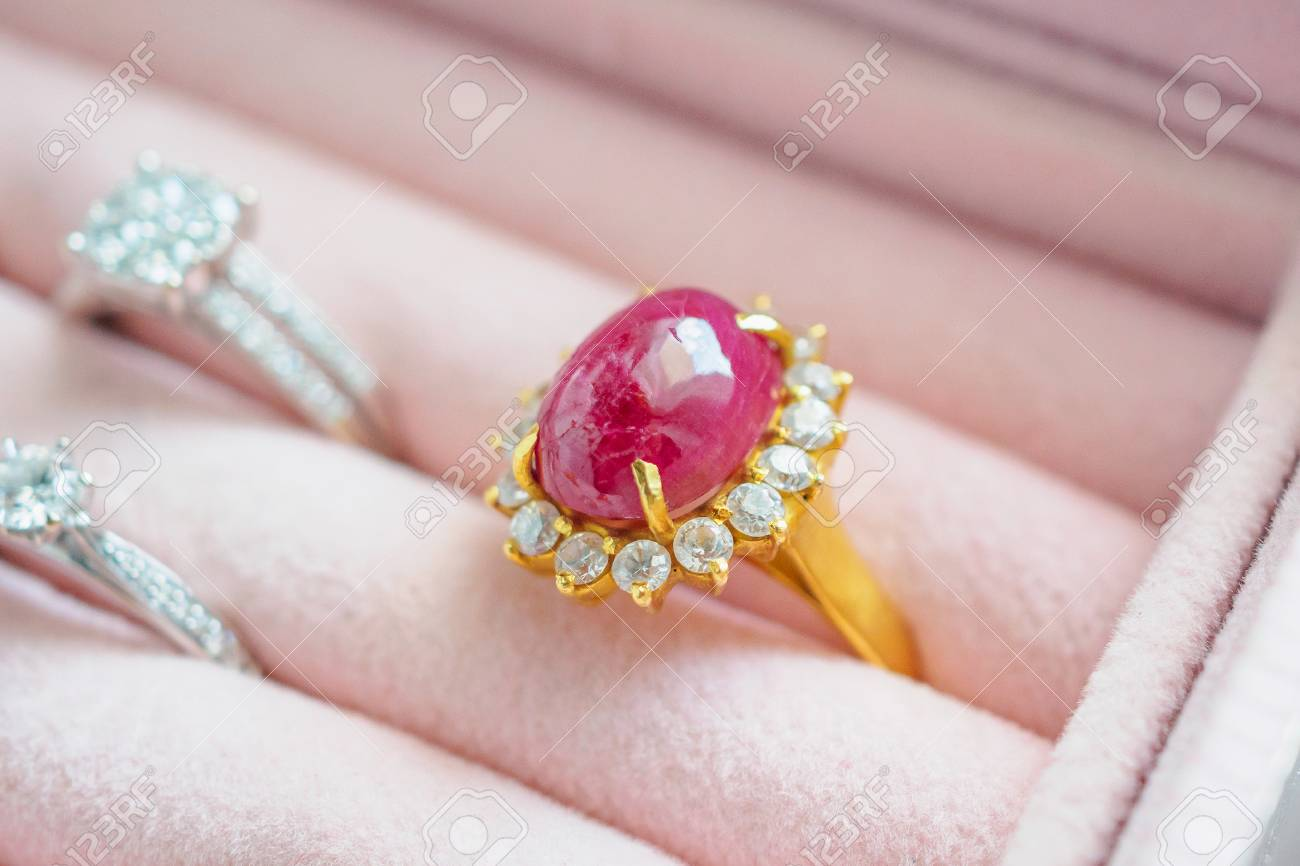Gold And Silver Diamond Ruby Gemstone Ring In Luxury Jewelry