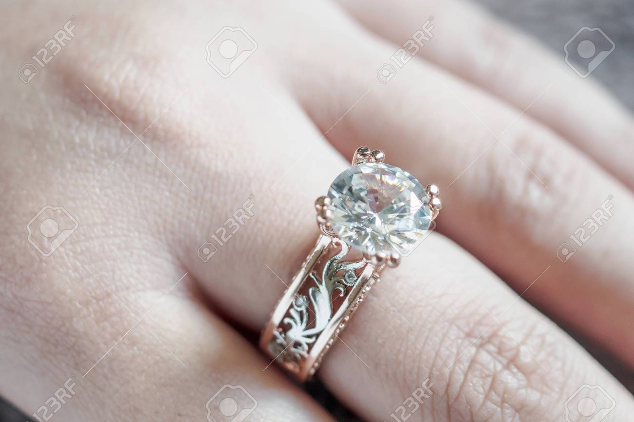 Woman Hand With Jewelry Diamond Ring On Finger Stock Photo Picture And Royalty Free Image Image 104567512