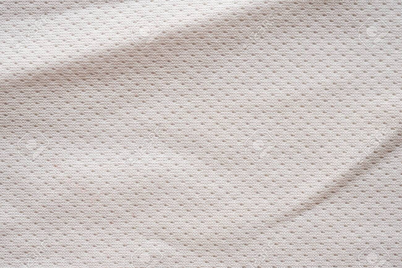 White fabric sport clothing football jersey with air mesh texture background - 122769113