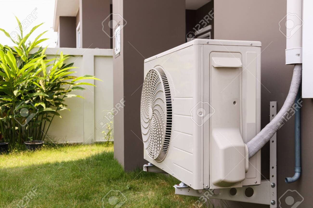 Air Conditioner Compressor Outdoor Unit Installed Outside The.. Stock  Photo, Picture And Royalty Free Image. Image 123804540.
