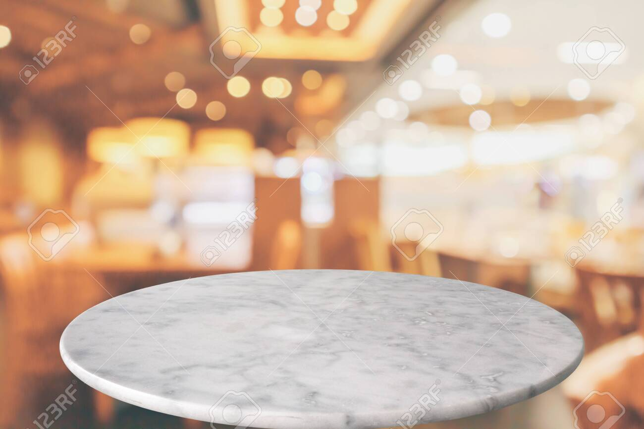 Round Marble Table Top With Cafe Restaurant Bokeh Lights Abstract Stock Photo Picture And Royalty Free Image Image 130898668