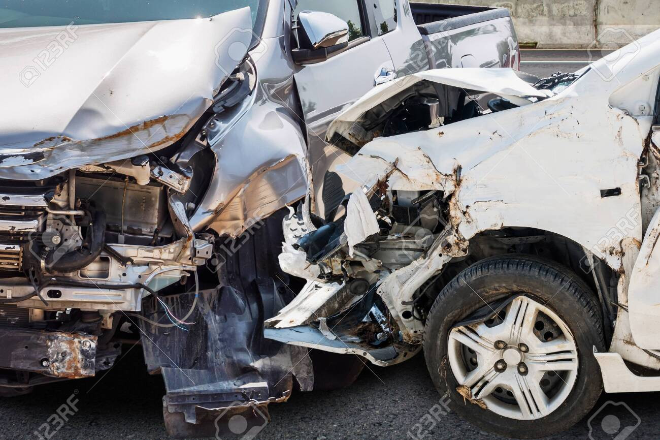 car crash damaged from accident on the road - 152938371
