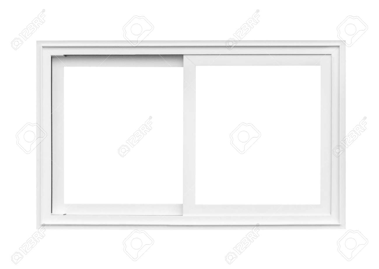 Real modern house window frame isolated on white background - 157871361