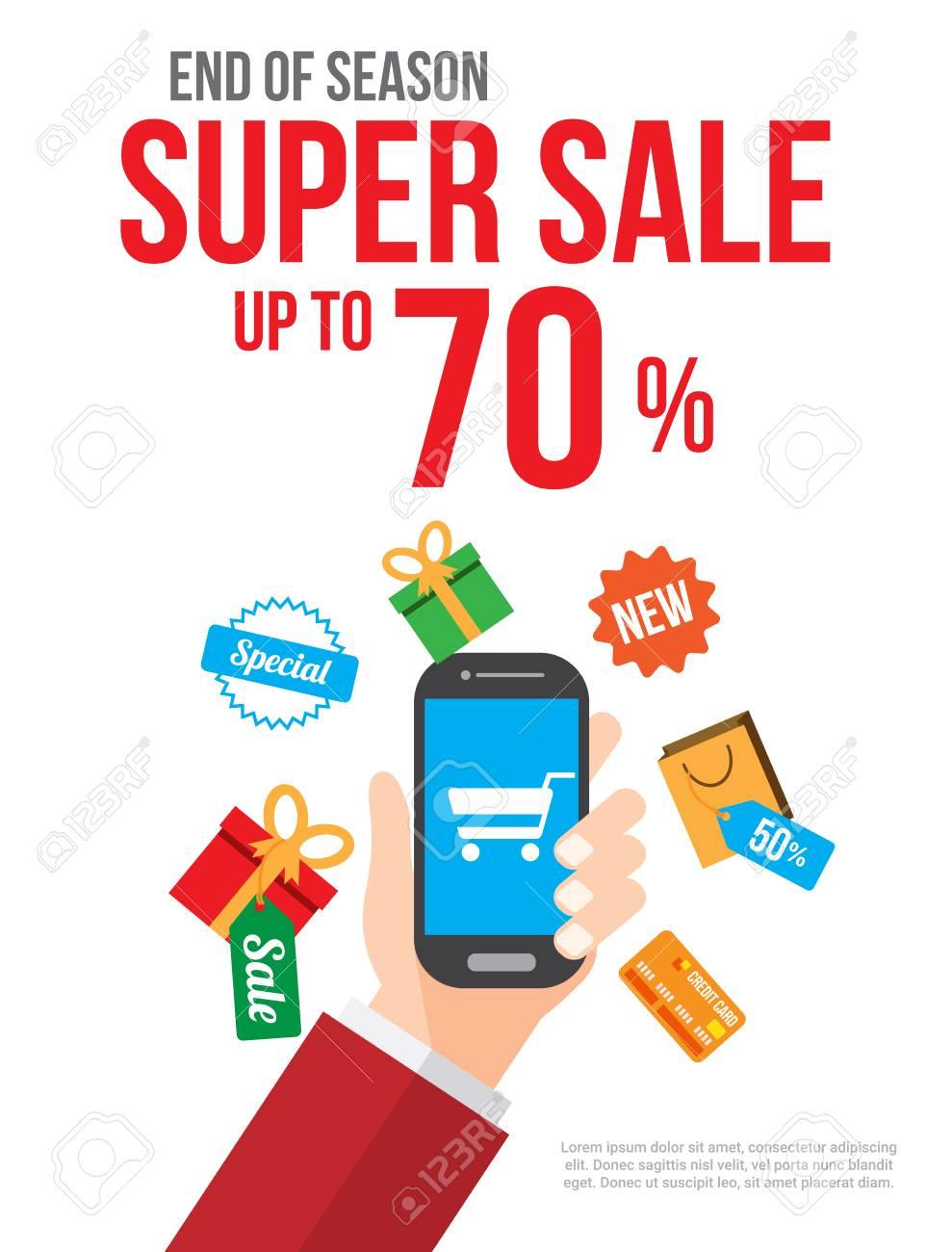 best website a6d6d 796bb Saldi. shopping online con lo smartphone. manifesto, banner, sfondo o  modello. illustrazione vettoriale.