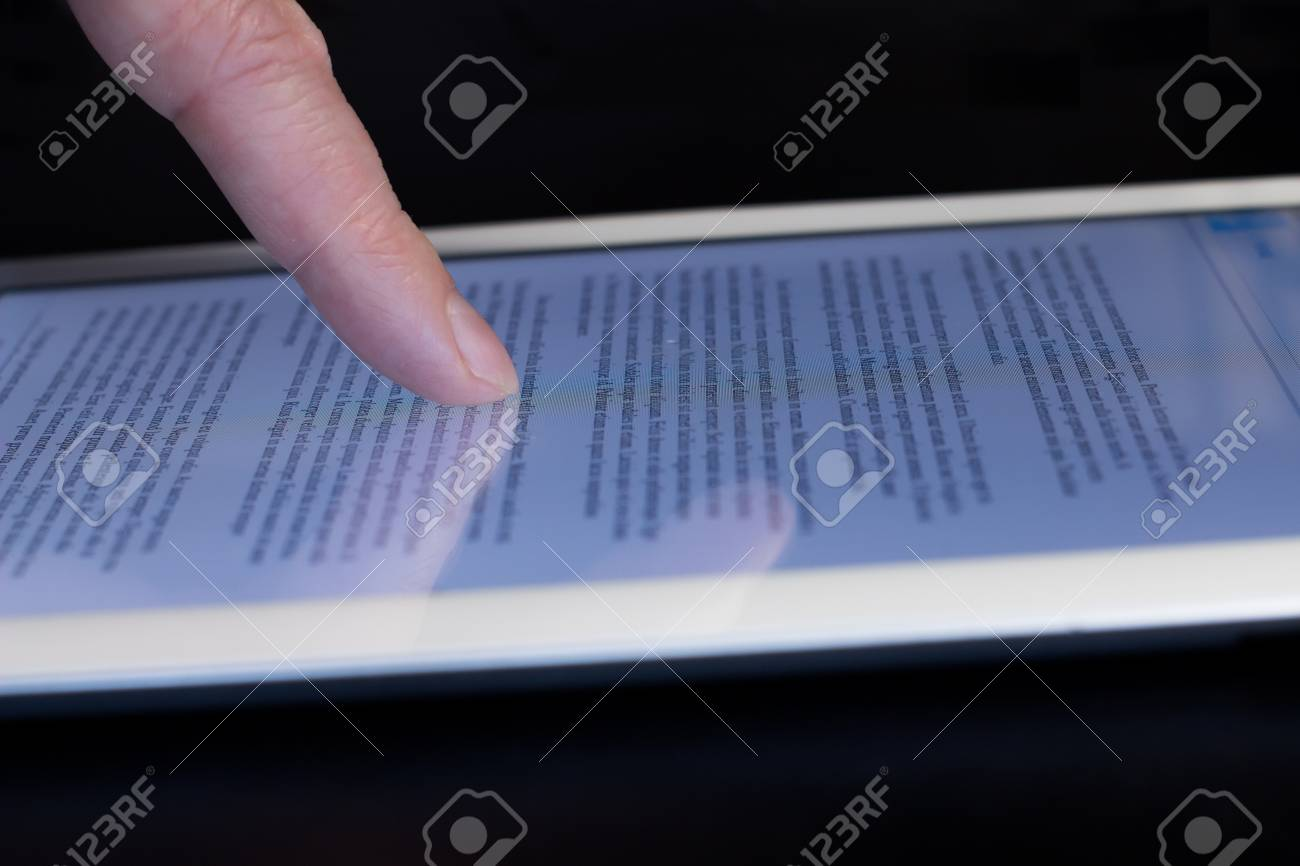 Awesome Closeup Mans Finger Scroll Touching Tablet Touchscreen Download Free Architecture Designs Rallybritishbridgeorg