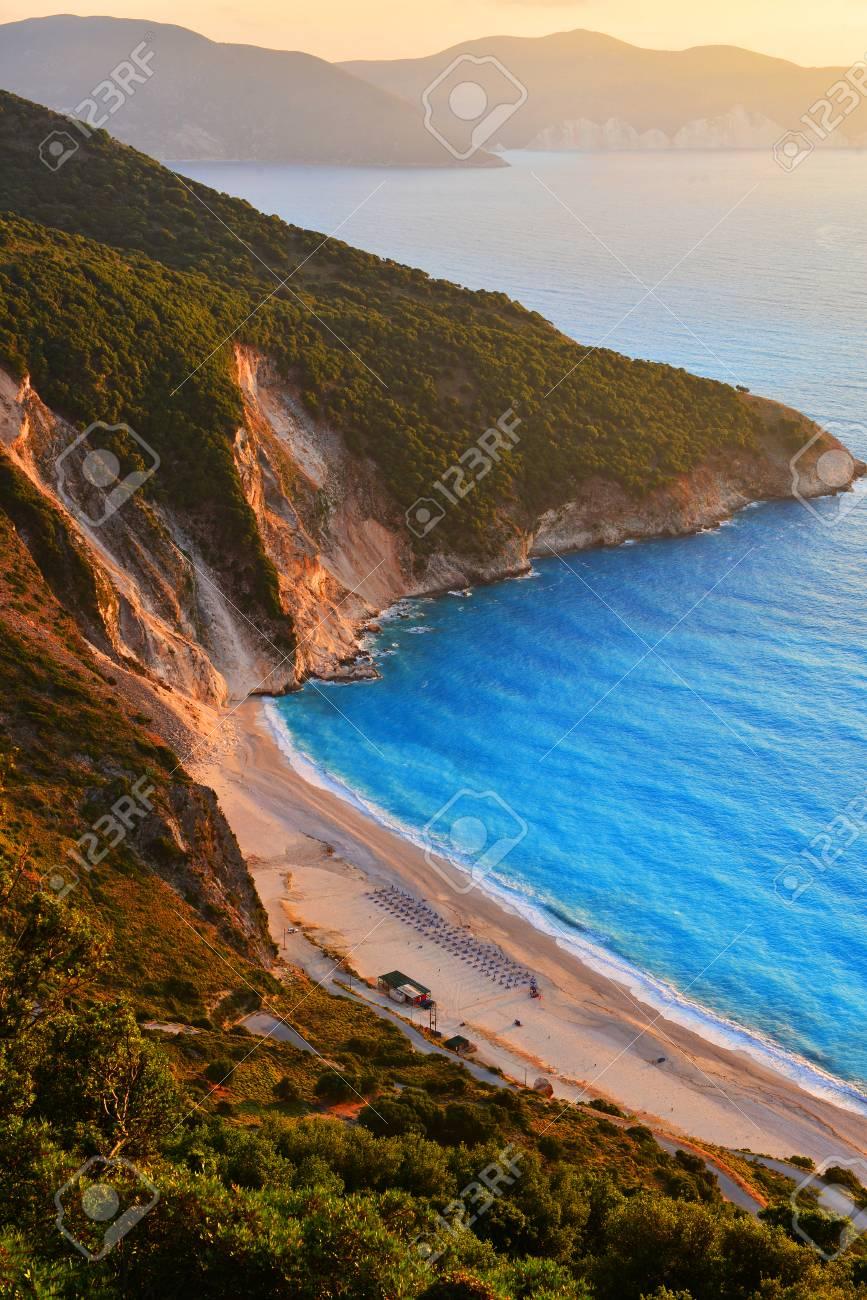 Stock Photo - Sunset at famous Myrtos beach - Kefalonia - Greece