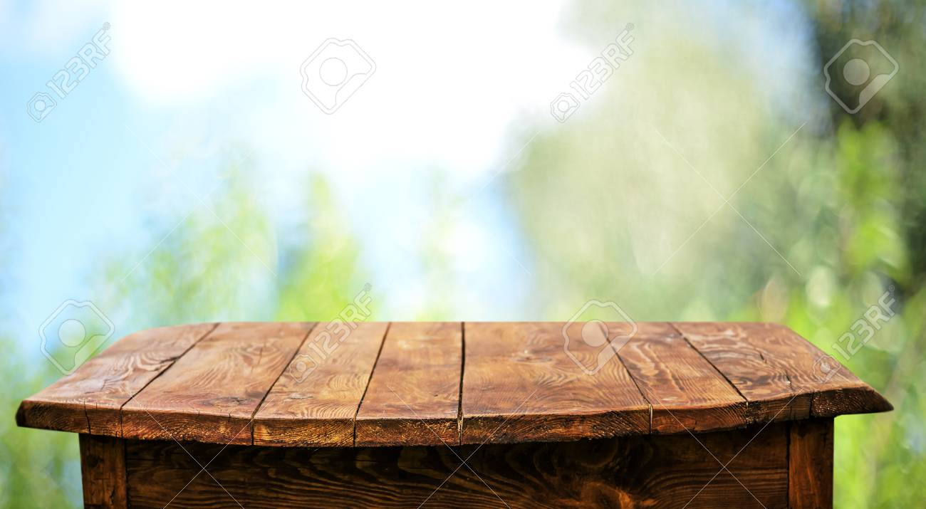 Empty Wooden Table Background Stock Photo, Picture And Royalty Free