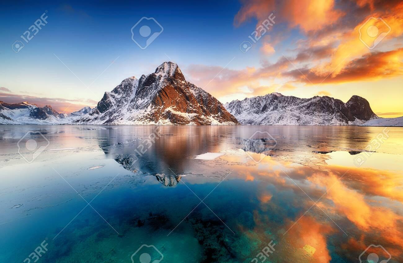 Beautiful sunrise in Norway - lofotens - 131631239