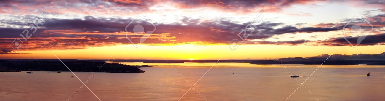Beautiful Sunset over Puget Sound Stock Photo - 795297