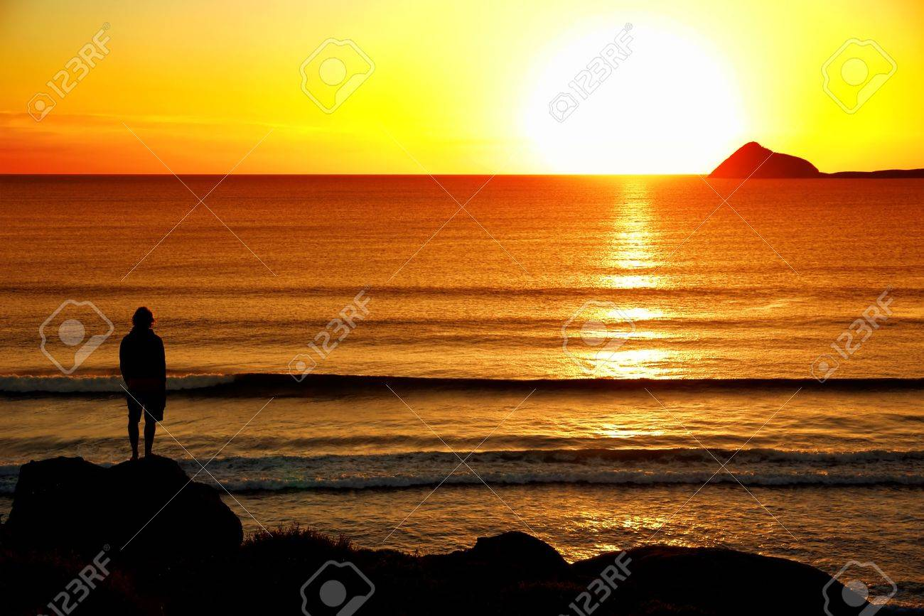 Silhoutte of man looking into the sunset Stock Photo - 2681624