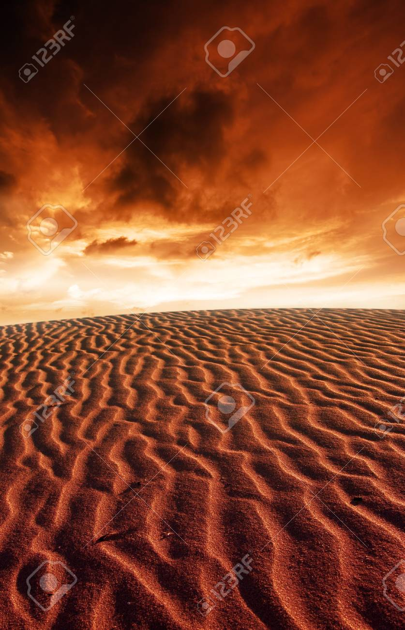 Desert Ripples and Stunning Sunset Stock Photo - 3421530